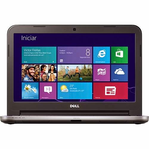 "Notebook Dell Inspiron 14R-5437-A40 com Intel Core i7 8GB (2GB de Memória Dedicada) 1TB LED 14"" Windows 8"