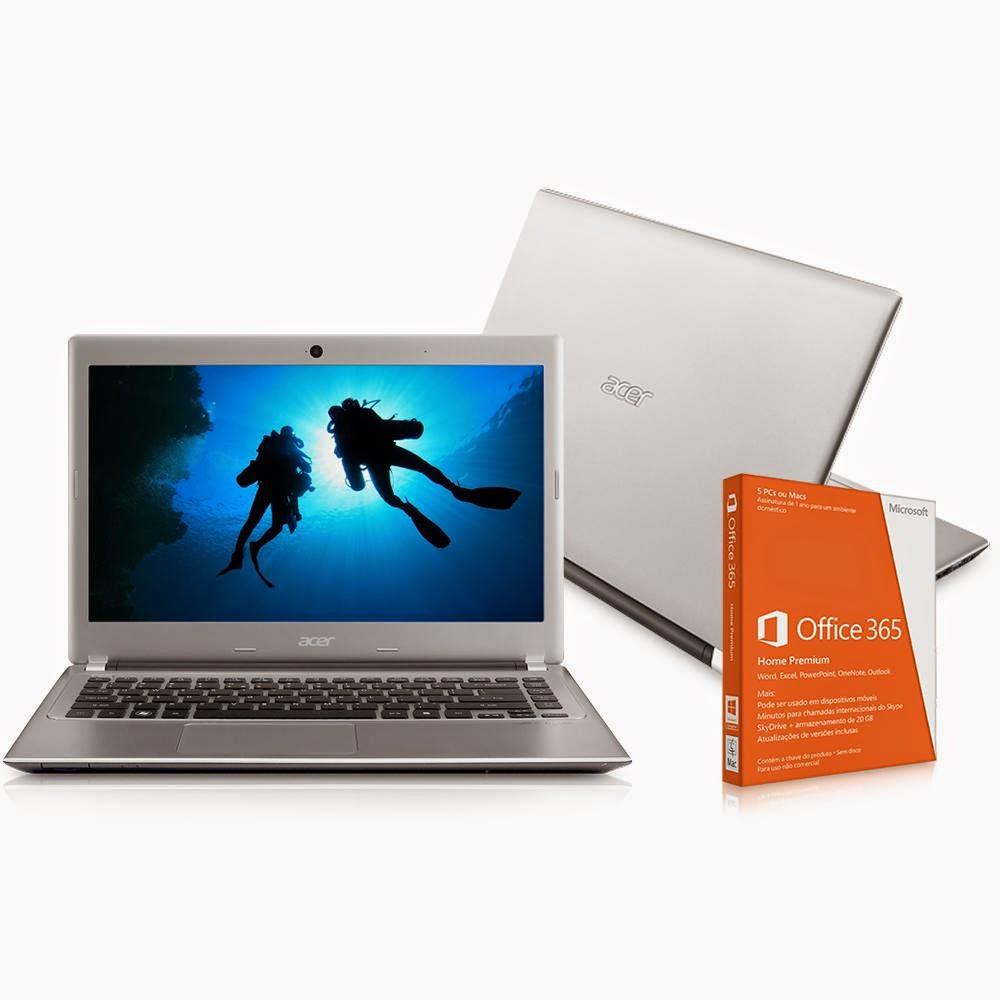 """Compre o Notebook Acer Aspire V5-4716BR669 com Intel Core i3, 6GB, 500GB, Tela 14"""", HDMI, USB - Windows 8 - Prata + Office 365 Home Premium"""