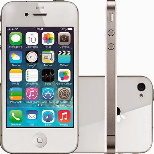 Conheça o IPhone Apple 4S Branco com 8GB de memória, Bluetooth, Câmera de 8 MP. BT Informática.