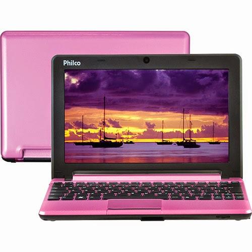 """Conheça o Netbook Philco 10C-R123LM Rosa com processador Intel Atom Dual Core (D2500), 2GB de Memória, HD de 320GB, Tela LED 10"""", Bateria de 3 Células e o Sistema Operacional Linux. BT Informática."""