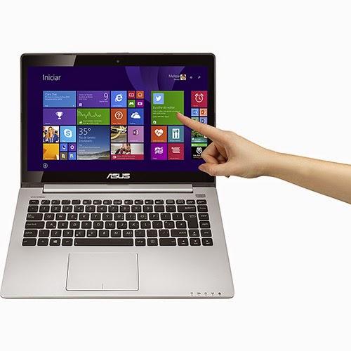 """Conheça o Notebook Asus Vivobook S400CA-BRA-CA215H com processador Intel Core i5 (3317U), 4GB de memória, HD de 500GB, Conexões USB e HDMI, Tela LED de 14"""" Touchscreen e Windows 8. BT Informática."""