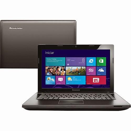 """Conheça o Notebook Lenovo G405-80A90000BR com processador AMD Dual Core, 4GB de memória, HD de 500GB, Tela LED HD de 14"""", CD/DVD-R/RW, Bateria de 6 Celulas, Conexões USB e HDMI Windows 8.1. BT Informática."""