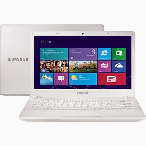 """Conheça o Notebook Samsung ATIV Book 2 NP270E4E-KD5 com processador Intel Core i3, 4GB de memória, HD de 500GB, Tela LED 14"""",Gravador de CD e DVD, Bluetooth, Bateria de 6 Células, Conexões USB e HDMI, Branco e Windows 8. BT Informática."""
