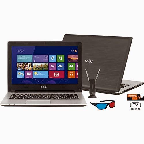 """Conheça o Notebook Ultrafino CCE TV Digital HT345TV com processador Intel Core i3, 4GB de Memória, HD de 500GB, Tela LED 14"""" Touchscreen, Bluetooth, Bateria de 4 Células, Conexões USB e HDMI, Óculos 3D e Windows 8. BT Informática."""