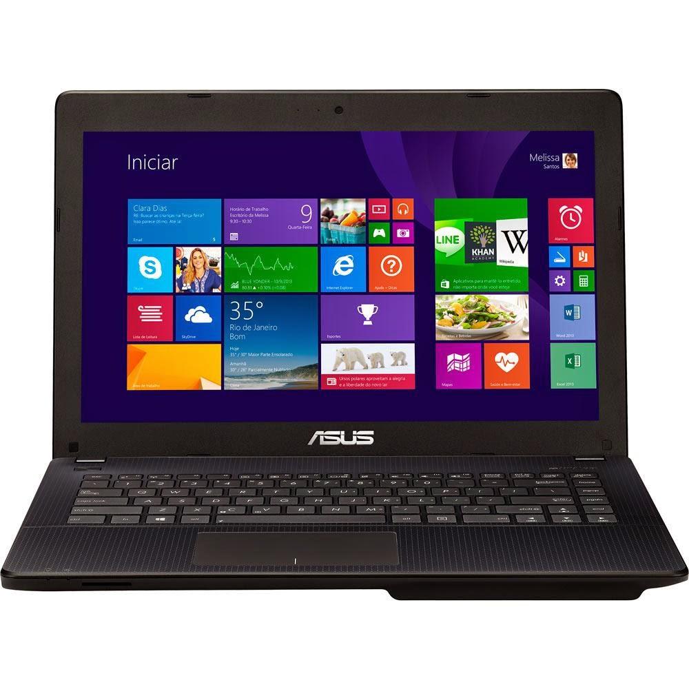 """Conheça o Notebook ASUS X451CA-BRAL-VX050H com processador Intel Celeron Dual Core (1007U), 2GB de Memória, HD de 320GB, Tela LED de 14"""", Conexões USB e HDMI, Bateria de 4 células, Peso aproximado de 1,92kg e Windows 8. BT Informática"""