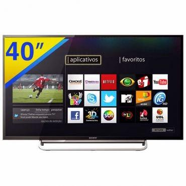"""Conheça a Smart TV LED 40"""" Sony Full HD KDL-40W605B Motionflow 240Hz com Wi-Fi Integrado, X-Reality Pro, Modo Futebol, DLNA, Entradas HDMI e USB e peso aproximado de 7,9kg. BT Informática"""