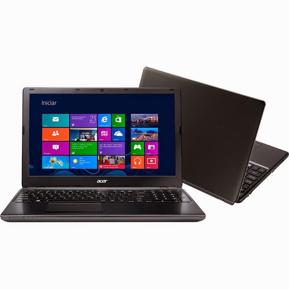 """Conheça o Notebook Acer Aspire E5-571-320G Intel Core i3 (4030U), 4GB de Memória, HD de 500GB, Tela LED de 15,6"""", Conexões USB e HDMI, Bluetooth, Peso aproximado de 2,5kg e Windows 8.1. BT Informática."""