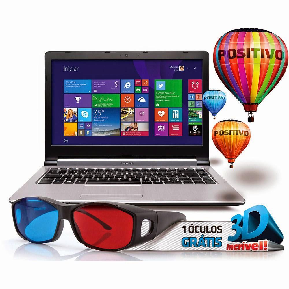 """Conheça o Notebook Positivo Premium XS7210 com Processador Intel Core i3 (4005U), 4GB de Memória RAM, HD de 500GB, Tela LCD de 14"""" Widescreen, Conexões USB e HDMI, Gravador de DVD, Bluetooth, Bateria de 3 Células, Peso Aproximado de 2,1kg e Windows 8.1. BT Informática."""