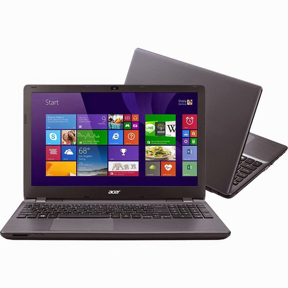 """Conheça o Notebook Acer E5-571-76K2 com processador Intel Core i7 (4510U) de 2GHz a 3.1 GHz e 4MB cache, HD de 1TB, 8GB de memória, Tela de 15,6"""", Conexões USB e HDMI, Bateria de 6 Células, Peso Aproximado de 2,5kg e Windows 8.1. BT Informática."""