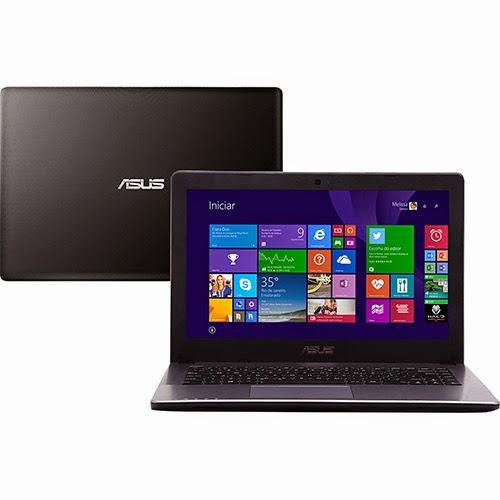 """Conheça o Notebook Asus X450CA BRAL WX275H com Procesador Intel Core i5 (3317U) de 1.7 GHz a 2.6 GHz e 3 MB cache, 4GB de memória, HD de 500GB, Tela LED de 14"""", Conexões USB e HDMI, DVD-RW, Bateria de 4 células, Peso aproximado de 2,1kg e Windows 8. Referência do Modelo: 90NB0271-M04490. BT Informática."""
