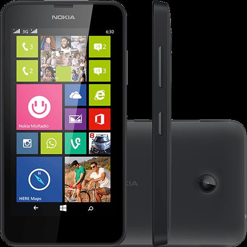 """Conheça o Smartphone Nokia Lumia 630 Dual Chip com Windows Phone 8.1, Tela 4.5"""", 8GB de memória interna, Tecnologia 3G, Wi-Fi, Câmera de 5MP, GPS, TV Digital, Processador de 1.2 GHz, 512 de memória RAM, Peso aproximado de 134g. Referência do modelo: 630 DS RM-979 NDB BR PRETO BT Informática."""