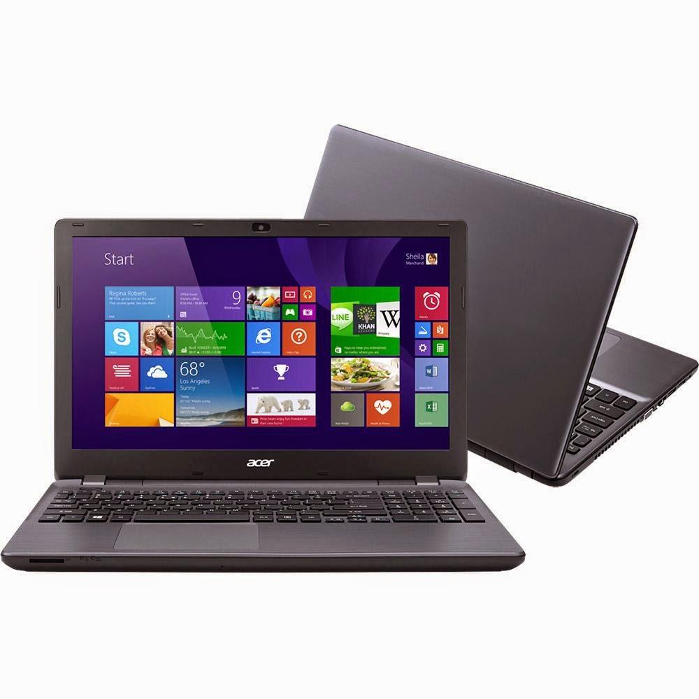 """Conheça o Notebook Acer E5-571G-72V0 com processador Intel Core i7 (4510U) de 2 GHz a 3.1 GHz e 4 MB cache, 8GB de memória RAM, HD de 1TB, Tela de 15,6"""", com Placa de vídeo Geforce GT 820M com 2 GB de memória dedicada, Bateria de 6 Células, Gravador de DVD, Conexões USB e HDMI, Peso aproximado de 2,45kg e Windows 8.1. Referência do Modelo: NX.MT9AL.002. BT Informática."""