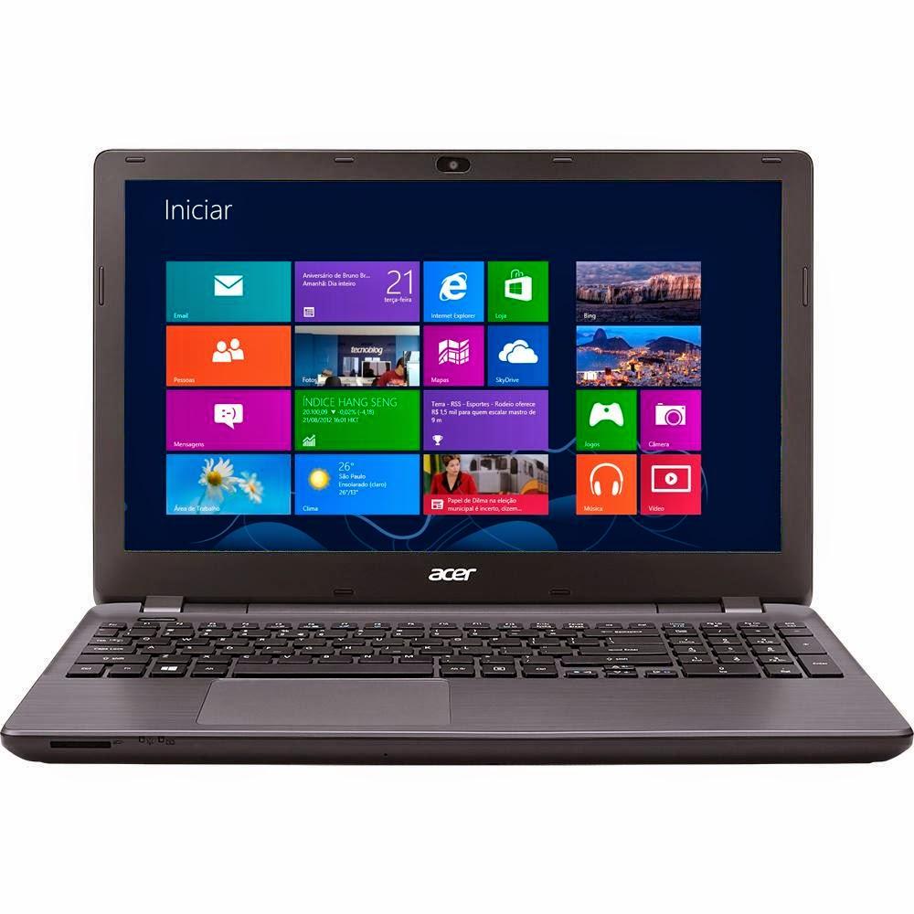 """Conheça o Notebook Acer E5-571G-760Q com processador Intel Core i7 (5500U) de 2.4 GHz a 3 GHz e 4 MB cache, 8GB de memória RAM, HD de 1TB, Tela de 15.6"""", Placa de vídeo GeForce GT 820M com 2GB de memória dedicada, Bateria de 6 Células, Gravador de DVD, Conexões USB e HDMI, Peso aproximado de 2,45kg e Windows 8.1. Referência do Modelo: E5-571G-760Q. BT Informática."""
