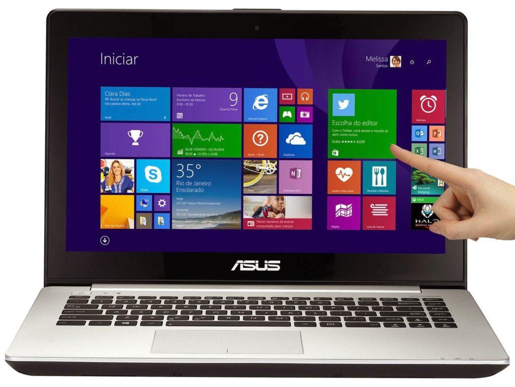 """Conheça o Notebook Asus Vivobook S451LA-CA047H com processador Intel Core i7 (4500U) de 1.8 GHz a 3 GHz e 4 MB cache, 8GB de memória, HD de 500GB, Tela LED Touch de 14"""", Conexões USB e HDMI, Bateria de 4 Células, Unidade de DVD, Peso aproximado de 2.2kg e Windows 8.  BT Informática."""