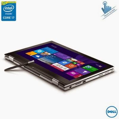 """Conheça o  Notebook 2 em 1 Dell I13-7348-A40 com processador Intel Core i7 (5500U) de 2.4 GHz a 3 GHz e 4 MB cache, 8Gb de memória, HD de 500GB, SSD de 8GB, Tela Touch de 13.3"""", Conexões USB e HDMI, Bateria de 3 células, Peso aproximado de 1,6kg e Windows 8.1. BT Informática."""