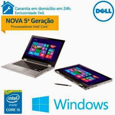 """Conheça o Notebook 2 em 1 Dell Inspiron i13-7348-A20 com processador Intel® Core™ i5 (5200U) de 2.2 GHz a 2.7 GHz e 3 MB cache, 4GB de Memória, HD de 500GB, Tela 13,3"""" Touch, Conexões USB e HDMI, Não possui drive de DVD, Bateria de 3 Células, Peso aproximado de 1.7kg e Windows 8.1. BT Informática."""
