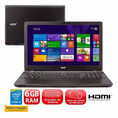 """Conheça o Notebook Acer Aspire E5-571-598P (NX.MQYAL.010) com processador Intel® Core™ i5 (5200U) de 2.2 GHz a 2.7 GHz e 3 MB cache, 6GB de memória, HD de 1TB, Tela LED de 15.6"""", Conexões USB e HDMI, Gravador de DVD, Bateria de 6 células, Peso aproximado de 2,5kg e Windows 8.1. Modelo Referência: NX.MQYAL.010 BT Informática."""