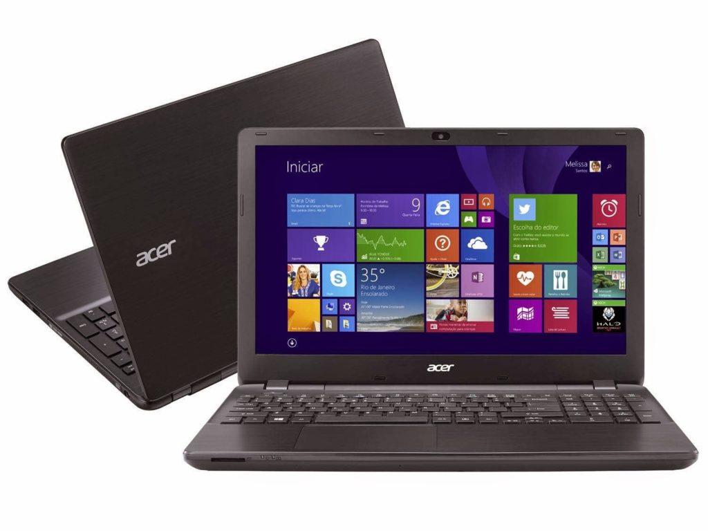 """Conheça o Notebook Acer E5-571-52ZK com Intel® Core™ i5 (5200U) de 2.2 GHz a 2.7 GHz e 3 MB cache, 4GB de Memória, HD de 500GB, Tela 15,6"""", Conexões USB e HDMI, Unidade de DVD, Bateria de 6 Células, peso aproximado de 2.5kg e Windows 8.1. BT Informática."""