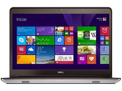 """Conheça o Notebook Dell Inspiron i14-5447-A20 com processador Intel Core i5 (4210U) de 1.7 GHz a 2.7 GHz e 3 MB cache, 8GB de memória, HD de 1TB, Tela LED HD 14"""" Touchscreen, Placa de vídeo AMD Radeon HD R7 M265 com 2GB de memória dedicada, Conexões USB e HDMI, Não possui gravador de DVD, Bateria de 3 células, Pesoa aproximado de 2,2kg e Windows 8.1. Modelo Referência: I14-5447-A20. BT Informática."""
