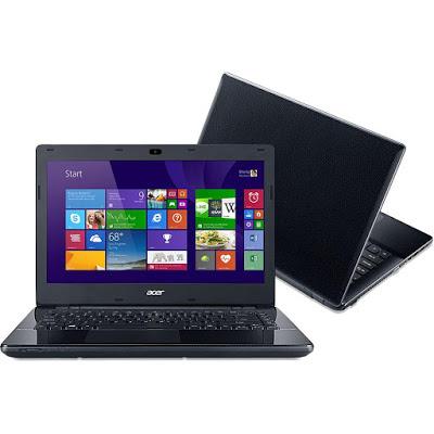 """Conheça o Notebook Acer E5-471-30AQ NX.MU7AL.002 com processador Intel Core i3 (4005U) de 1.7 GHz e 3 MB cache, 4GB de memória, HD de 500GB, Tela de 14"""", Conexões USB e HDMI, Drive de DVD, Bateria de 6 células, Peso aproximado de 2,3kg e Windows 8.1."""