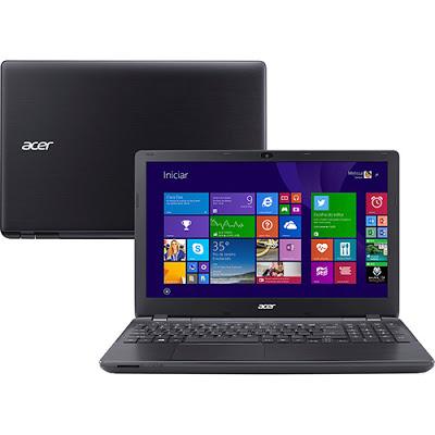 """Conheça o Notebook Acer E5-571-32EG com processador Intel Core i3(5005U) de 2 GHz e 3 MB cache, 4GB de memória, HD de 500GB, Tela LED de 15,6"""", Conexões USB e HDMI, Drive de DVD, Bateria de 6 células, Peso aproximado de 2,5kg e Windows 8.1. BT Informática."""