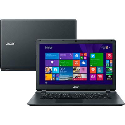 """Conheça o Notebook Acer ES1-511-C35Q com processador Intel Celeron Dual Core(N2840) de 2.16 GHz a 2.58 GHz e 1 MB cache, 2GB de memória, HD de 320GB, Tela LED de 15,6"""",Conexões USB e HDMI, Drive de DVD, Bateria de 4 Células, Peso aproximado de 2,45kg e Windows 8.1. BT Informática."""