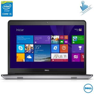 """Conheça o Notebook Dell I14-5448-B20 com processador Intel Core i5 (5200U) de 2.2GHz a 2.7 GHz e 3 MB cache, 8GB de memória, HD de 1TB, Tela Touch de 14"""", Placa de vídeo AMD Radeon R7 M265 com 2 GB de memória dedicada, Conexões USB e HDMI, Não possui drive de DVD, Bateria 3 células, Peso aproximado de 2,2Kg e Windows 8.1. BT Informática."""