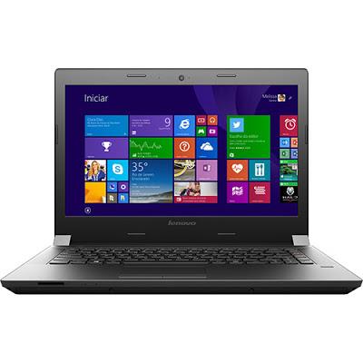 """Conheça o Notebook Lenovo B40-30 80F10002BR com processador Intel Celeron Dual Core (N2840) de 2.16 GHz a 2.58 GHz e 1 MB cache, 4GB de memória, HD de 500GB, Tela LED de 14"""", Conexões USB e HDMI, Drive de DVD, Bateria de 4 células, Peso aproximado de 2,15kg e Windows 8.1. BT Informática."""