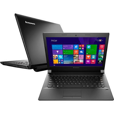 """Conheça o Notebook Lenovo B40-70 80F30005BR com processador Intel Core i3 (4005U) de 1.7 GHz e 3 mb cache, 4GB de memória, HD de 500GB, Tela LED de 14"""", Conexões USB e HDMI, Drive de DVD, Bateria de 4 células, Peso aproximado de 2,15kg e Windows 8.1. BT Informática."""