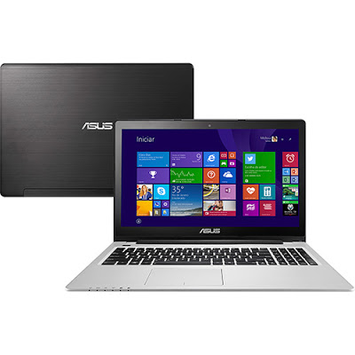"""Conheça o Ultrabook ASUS Vivobook S550CA-BRA-CJ160H com processador Intel Core i5 (3317U) de 1.7 GHz a 2.6 GHz e 3 MB cache, 8GB de memória, HD de 1TB, Tela LED de 15"""", Conexões USB e HDMI, Drive de DVD, Bateria de 4 células, Peso aproximado de 2,65kg e Windows 8. BT Informática."""
