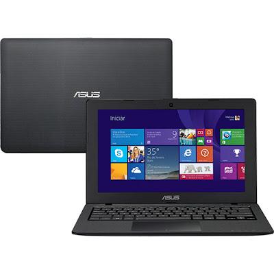 """Conheça o Notebook Ultrafino Asus X200MA-CT205H com processador Intel Celeron Dual Core (N2830) de 2.16GHz a 2.41GHz e 1 MB cache, 2GB de memória, HD de 500GB, Tela LED de 11.6"""", Conexões USB e HDMI, não possui drive de DVD, Bateria de 3 células, Peso aproximado de 1,3kg e Windows 8.1. BT Informática."""