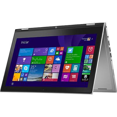 """Conheça o Notebook 2 em 1 Dell Inspiron i13-7347-C10 com processador Intel Core i3 (4030U) de 1.9 GHz e 3 MB cache, 4GB de memória, HD de 500GB, Tela LED HD de 13,3"""", Conexões USB e HDMI, Não possui drive de DVD, Bateria de 3 células, Pesoa aproximado de 1,66kg e Windows 8.1."""