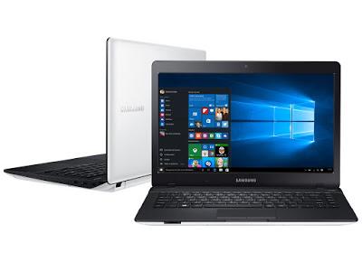 """Conheça o Notebook Samsung Essentials E21 NP370E4K-KWBBR com processador Intel Celeron Dual Core (3205U) de 1.5 GHz e 2 MB cache, 4GB de memória, HD de 500 GB, Tela LED HD de 14"""", Conexões USB e HDMI, Drive de DVD, Bateria de 6 células, Peso aproximado de 2,2kg e Windows 10."""