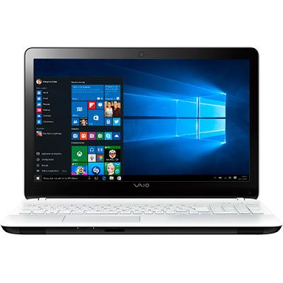 """Conheça o Notebook Vaio Fit 15F VJF153B0211W com processador Intel Core i5 (5200U) de 2.2 GHz a 2.7 GHz e 3 MB cache, 4GB de memória, HD de 1TB, Tela LED de 15,6"""", Conexões USB e HDMI, Bateria de 4 células, Peso aproximado de 2,2kg e Windows 10."""