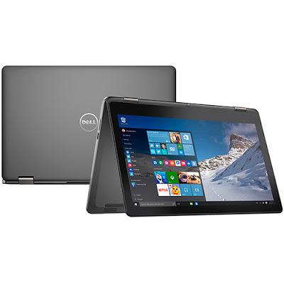 """Conheça o Notebook 2 em 1 Dell Inspiron i15-7558-A10 com processador Intel Core i5 (5200U) de 2.2GHz a 2.7 GHz e 3 MB cache, 8GB de memória, HD de 500GB, Tela LED Full HD de 15,6"""", Não possui drive de DVD, Conexões USB e HDMI, Bateria de 3 células, Peso aproximado de 2,1kg e Windows 10."""