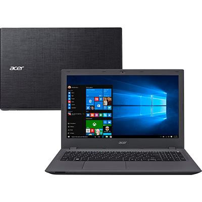 """Conheça o Notebook Acer E5-573-541L com processador Intel Core i5 (5200U) de 2.2 GHz a 2.7 GHz e 3 MB cache, 4GB de memória, HD de 1TB, Tela LED de 15,6"""", Conexões USB e HDMI, Drive de DVD, Bateria de 4 céluals, Peso aproximado de 2,4kg e Windows 10."""