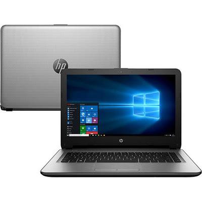 """Conheça o Notebook HP 14-ac139br L9M36LA#AC4 com processador Intel Core i5 (5200U) de 2.2 GHz a 2.7 GHz e 3 MB cache, 4GB de memória, HD de 500GB, Tela LED de 14"""", Conexões USB e HDMI, Drive de DVD, Bateria de 4 células, Peso aproximado de 1,9kg e Windows 10."""