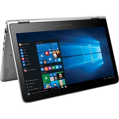 """Conheça o Notebook HP 2 em 1 Pavilion X360 13-s103br L9M46LA#AC4 com processador Intel Core i5 (6200U) de 2.3 GHz a 2.8 GHz e 3MB cache, 4GB de memória, HD de 500GB, Tela LED Touch de 13,3"""", Conexões USB e HDMI, Não possui Drive de DVD, Bateria de 3 células, Peso aproximado de 1,7kg e Windows 10."""