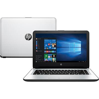 """Conheça o Notebook HP 14-AC121BR com processador Intel Core i7 (6500U) de 2.5 GHz a 3.1 GHz e 4 MB cache, 8GB de memória, HD de 1TB, Tela LED de 14"""", Conexões USB e HDMI, Drive de DVD, Bateria de 4 células, Peso aproximado de 1,9kg e Windows 10."""