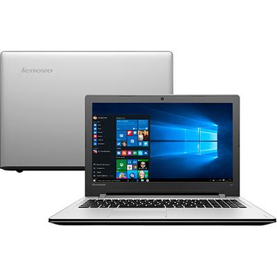 """Conheça o Notebook Lenovo Ideapad 300 80RS0003BR com processador Intel Core i7 (6500U) de 2.5 GHz a 3.1 GHz e 4 MB cache, 8GB de memória, HD de 1TB, Tela LED de 15,6"""", Placa de vídeo Radeon R5 M330 com 2 GB de memória dedicada, Conexões USB e HDMI, Drive de DVD, Bateria de 4 células, Peso aproximado de 2,3kg e Windows 10."""