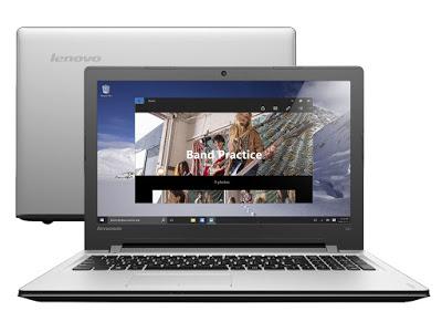 """Conheça o Notebook Lenovo Ideapad 300 80RS0004BR com processador Intel Core i5 (6200U) de 2.3 GHz a 2.8 GHz e 3 MB cache, 8 GB de memória, HD de 1 TB, Tela de 15,6"""", Conexões USB e HDMI, Drive de DVD, Bateria de 4 Células, Peso aproximado de 2,3kg e Windows 10."""
