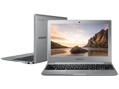 """Conheça o Notebook Samsung Chromebook 2 XE500C12-AD1BR com processador Intel Celeron (N2840) de 2.16 GHz a 2.58 GHz e 1 MB cache, 2GB de memória, Memória flash de 16GB, Tela antirreflexiva de 11.6"""", Conexões USB e HDMI, Drive de DVD, Bateria de 2 células, Peso aproximado de 1,18kg e Google Chrome OS."""