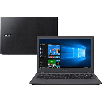 """Conheça o Notebook Acer Aspire E5-574-592S NX.GAPAL.001 com processador Intel Core i5 (6200U) de 2.3 GHz a 2.8 GHz e 3 MB cache, 8GB de memória, HD de 1TB, Tela LED de 15,6"""", Conexões USB e HDMI, Drive de DVD, Bateria de 4 células, Peso aproximado de 2,4kg e Windows 10."""