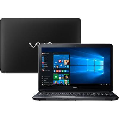 """Conheça o Notebook Vaio FIT 15F VJF153B0811B com processador Intel Core i5 (5200U) de 2.2 GHz a 2.7 GHz e 3 MB cache, 8GB de memória (suporta até 16GB), HD de 1TB, Tela LED de 15,6"""", Conexões USB e HDMI, Drive de DVD, Bateria de 4 células (2600 mAh), Peso aproximado de 2,2kg e Windows 10."""