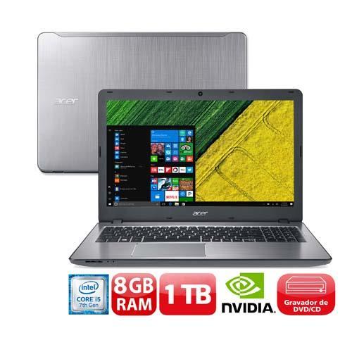 """Conheça o Notebook Acer Aspire F5-573G-50KS com processador Intel Core i5 (7200U) de 2.5 GHz a 3.1 GHz e 3 MB cache, 8 GB de memória RAM (DDR4 - 2133 MHz expansível até 32GB), HD de 1 TB (5.400 RPM), Tela LED HD de 15,6"""" com resolução máxima de 1366 X 768, Placa de Vídeo Geforce 940MX com 2 GB de memória dedicada, Conexões USB e HDMI, Wi-Fi 802.11bgn, Drive de DVD, Bateria de 4 células (2800mAh), Peso aproximado de 2,3kg e Windows 10."""