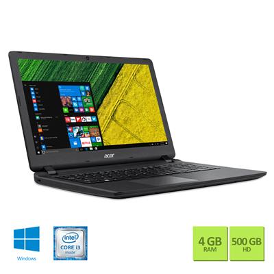 """Conheça o Notebook Acer Aspire ES1-572-323F NX.GHDAL.003 com processador Intel Core i3 (6100U) de 2.3 GHz e 3 MB cache, 4 GB de memória RAM (DDR3-1600), HD de 500 GB (5.400 RPM), Tela LED HD de 15,6"""" com resolução máxima de 1366 X 768, Placa de Vídeo Intel HD Graphics 520, Conexões USB e HDMI, Wi-Fi 802.11bgn, Drive de DVD, Bateria de 4 células (3220mAh), Peso aproximado de 2,4kg e Windows 10."""