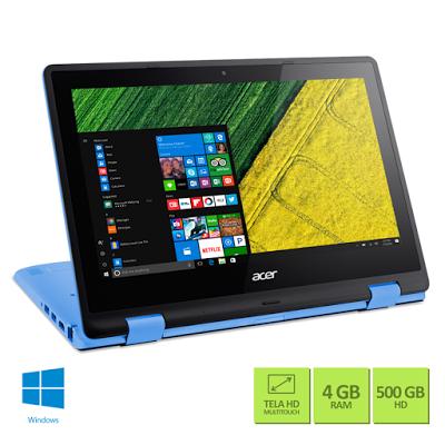 """Conheça o Notebook Acer Aspire R3-131T-P7PY (2 em 1) NX.G69AL.004 com processador Intel Celeron Quad Core (N3700) de 1.6 GHz a 2.4 GHz e 2MB cache, 4 GB de memória RAM (DDR3-1600), HD de 500 GB (5.400 RPM), Tela LED HD de 11,6"""" Multitouch  com resolução máxima de 1366 X 768, Placa de Vídeo Intel HD Graphics, Conexões USB e HDMI, Wi-Fi 802.11bgn, Não possui Drive de DVD, Bateria de 4 células (3220mAh), Peso aproximado de 1,5kg e Windows 10."""