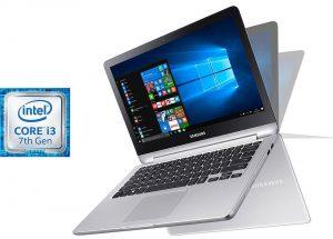 """Conheça o Notebook 2 em 1 Samsung Style NP740U3M-KD1BR com processador Intel Core i3 (7100U) de 2.4 GHz e 3 MB cache, 4GB de memória RAM (DDR4 - 4 GB X1 - 2 SODIMM), HD de 500 GB (5.400 RPM), Tela LED FULL HD Touch de 13,3"""" com resolução máxima de 1920 x 1080, Placa de Vídeo integrada Intel HD Graphics 620, Conexões USB e HDMI, Wi-Fi 802.11 ac, Não possui Drive de DVD, Bateria de 3 células (45WHr), Teclado retroiluminado, Peso aproximado de 1,78kg e Windows 10."""