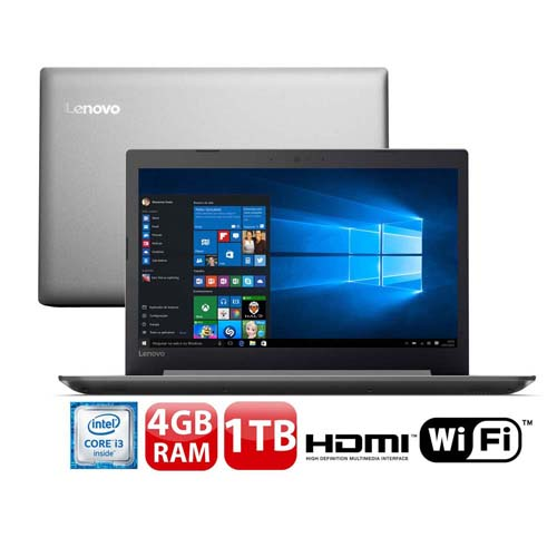 """Conheça o Notebook Lenovo Ideapad 320 80YH0008BR com processador Intel Core i3 (6006U) de 2 GHz e 3 MB cache, 4GB de memória RAM (DDR4 2133 MHz- 4GB soldado expansível até 16 GB), HD de 1 TB (5.400 RPM), Tela LED FULL HD antirreflexo de 15,6"""" com resolução máxima de 1920 x 1080, Placa de Vídeo integrada Intel HD Graphics 520, Conexões USB e HDMI, Wi-Fi 802.11 ac, Não possui Drive de DVD, Bateria de 2 células (30WHr), Peso aproximado de 2kg e Windows 10."""