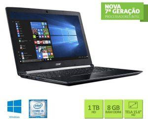 """Conheça o Notebook Acer Aspire A515-51-56K6 com processador Intel Core i5 (7200U) de 2.5 GHz a 3.1 GHz e 3 MB cache, 8 GB de memória RAM (DDR4 2133 MHz - expansível até 20GB), HD de 1 TB (5.400 RPM), Tela LED HD de 15,6"""" antirreflexiva com resolução máxima de 1280 X 720, Placa de Vídeo integrada Intel HD Graphics 620, Conexões USB e HDMI, Wi-Fi 802.11 ac, Não possui Drive de DVD, Bateria de 4 células (3220mAh), Peso aproximado de 2,2kg e Sistema Operacional Windows 10."""